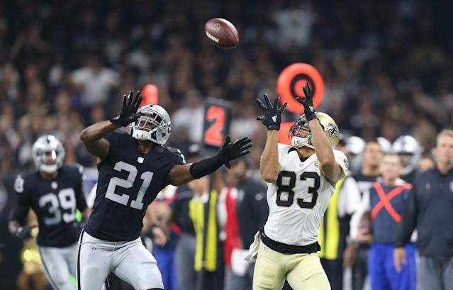 <p>New Orleans Saints wide receiver Willie Snead (83) makes a catch while defended by Oakland Raiders defensive back Sean Smith (21) in the second quarter at the Mercedes-Benz Superdome. Mandatory Credit: Chuck Cook-USA TODAY Sports </p>