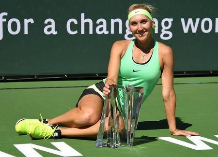 Mar 19, 2017; Indian Wells, CA, USA; Elena Vesnina (RUS) with the championship trophy after defeating Svetlana Kuznetsova (not pictured) in the women's final in the BNP Paribas Open at the Indian Wells Tennis Garden. Mandatory Credit: Jayne Kamin-Oncea-USA TODAY Sports