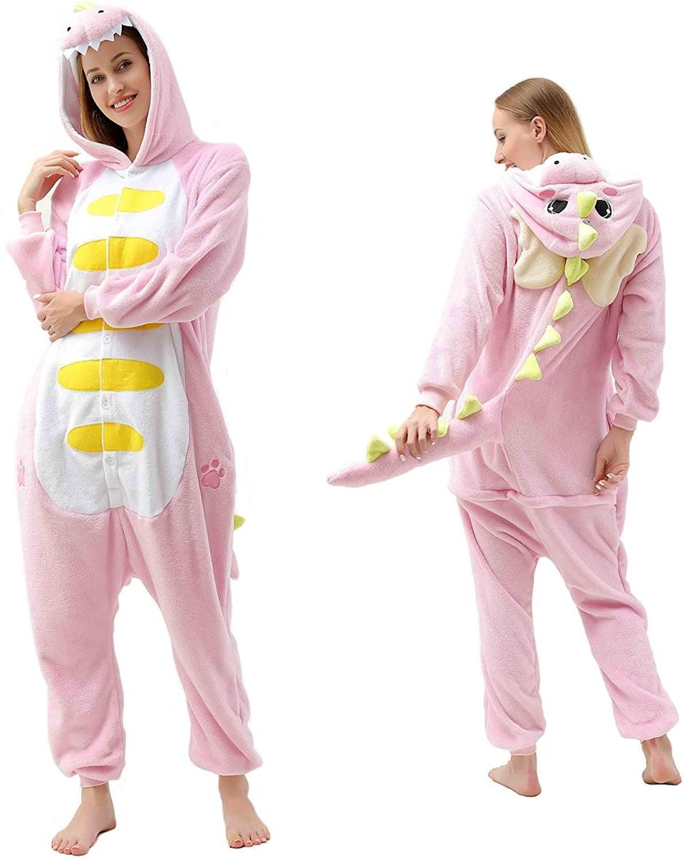 <p>This cozy <span>Pink Dinosaur Onesie</span> ($30) will keep you comfy all night.</p>