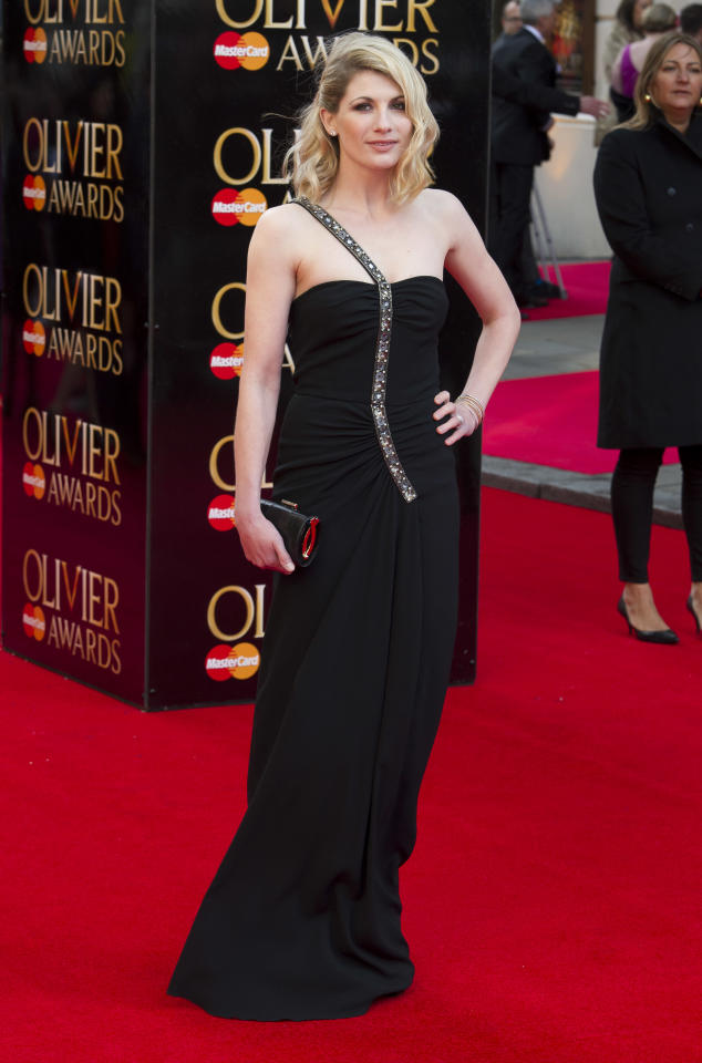 British actress Jodie Whittaker arrives for the Olivier Awards at the Royal Opera House, London, Sunday, April 15, 2012. (AP Photo/Jonathan Short)