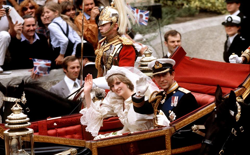 <p>Lady Diana Spencer and Charles on their wedding day in 1981 (PA) </p>