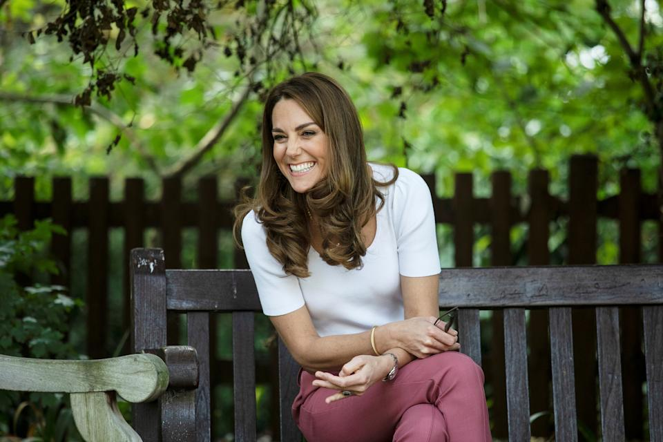 Britain's Catherine, Duchess of Cambridge, reacts as she meets with parents and children, and peer supporters, in Battersea Park, London on September 22, 2020, where she learned more about the benefits of parent-to-parent support. (Photo by Jack Hill / POOL / AFP) (Photo by JACK HILL/POOL/AFP via Getty Images)