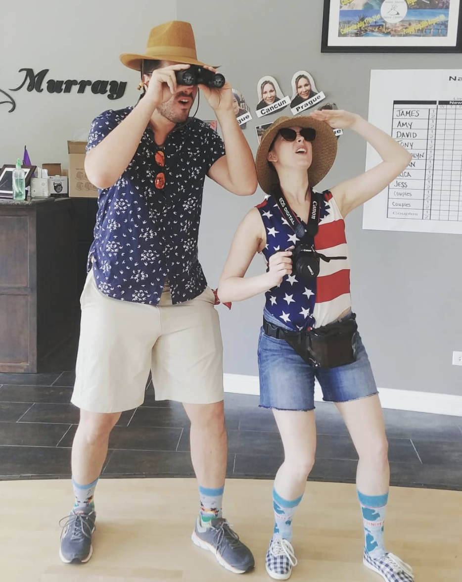 """<p>Maps? Check. Binoculars? Check. Hats? Jorts? 'Merica pride? Check. Check. Check. These tourists will indeed fight a crowd to get to the Halloween candy this year.</p><p><a class=""""link rapid-noclick-resp"""" href=""""https://www.amazon.com/Uideazone-American-Button-Patriotic-Hawaiian/dp/B07FXRLG36/?tag=syn-yahoo-20&ascsubtag=%5Bartid%7C10072.g.27868801%5Bsrc%7Cyahoo-us"""" rel=""""nofollow noopener"""" target=""""_blank"""" data-ylk=""""slk:SHOP FLAG SHIRT"""">SHOP FLAG SHIRT</a></p>"""