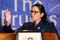 LONDON, UNITED KINGDOM - 2019/01/30: Priti Patel MP, former Secretary of State for International Development is seen speaking at the Bruges Group event focusing on issues of Britain outside the European Union. (Photo by Dinendra Haria/SOPA Images/LightRocket via Getty Images)