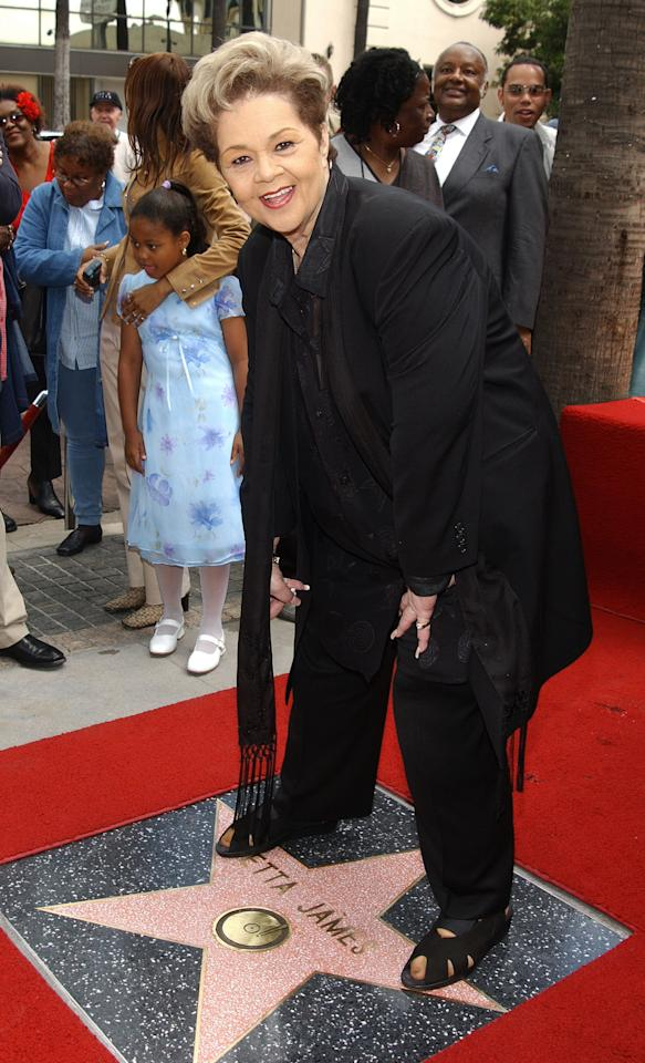 HOLLYWOOD - APRIL 18:  Singer Etta James stands over her star on the Hollywood Walk of Fame during a ceremony in her honor April 18, 2003 in Hollywood, California. (Photo by Vince Bucci/Getty Images)