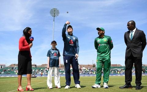 England captain Eoin Morgan tosses the coin alongside Pakistan captain Sarfaraz Ahmed ahead of the 3rd Royal London One Day International between England and Pakistan at The County Ground - Credit: Gareth Copley/Getty Images