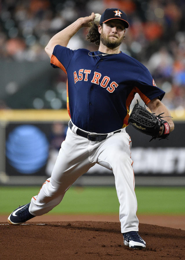 Houston Astros starting pitcher Gerrit Cole delivers during the first inning of a baseball game against the Seattle Mariners, Sunday, June 30, 2019, in Houston. (AP Photo/Eric Christian Smith)