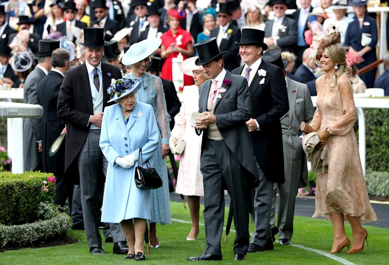 The Duke of Cambridge (left), the Duchess of Cambridge, Queen Elizabeth II, the Duchess of Cornwall, King Willem-Alexander of the Netherlands and Queen Maxima of the Netherlands attending day one of Royal Ascot at Ascot Racecourse.