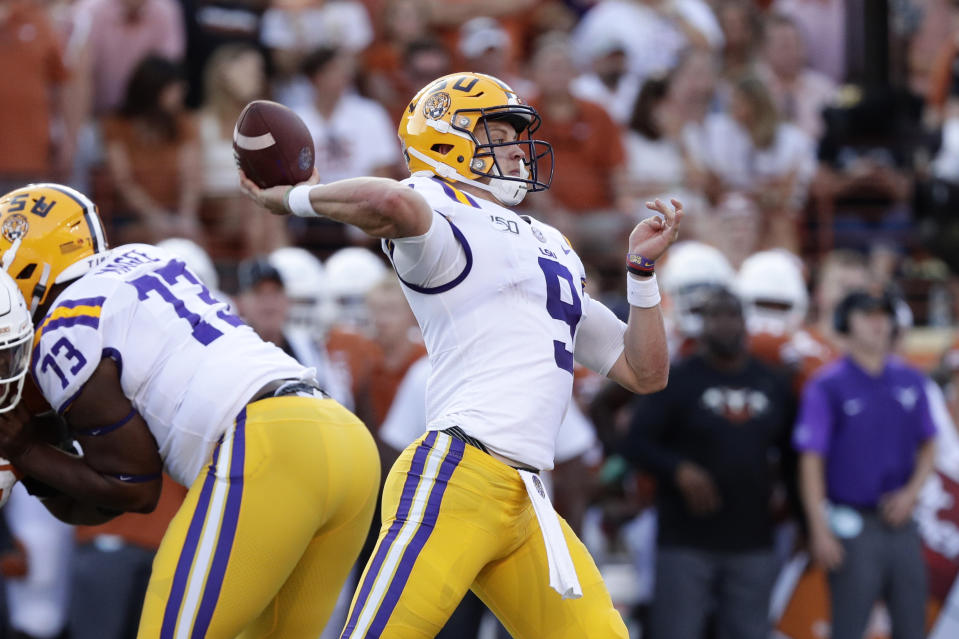 LSU quarterback Joe Burrow (9) throws a pass during the first half of an NCAA college football game against the Texas, Saturday, Sept. 7, 2019, in Austin, Texas. (AP Photo/Eric Gay)