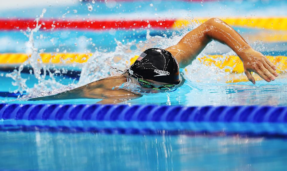 <p>Robert Finke of United States competes in the Men's 800m Freestyle final on day six of the Tokyo 2020 Olympic Games at Tokyo Aquatics Centre on July 29, 2021 in Tokyo, Japan. (Photo by Ian MacNicol/Getty Images)</p>