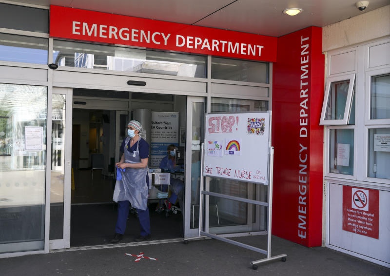 A triage nurse waits for patients in the Emergency Department at Frimley Park Hospital in Surrey. Picture date: 22/5/2020.