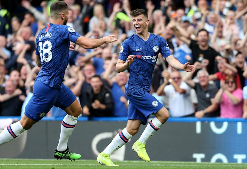 Mason Mount celebrates giving Chelsea the lead. (Photo by Charlotte Wilson/Offside/Offside via Getty Images)