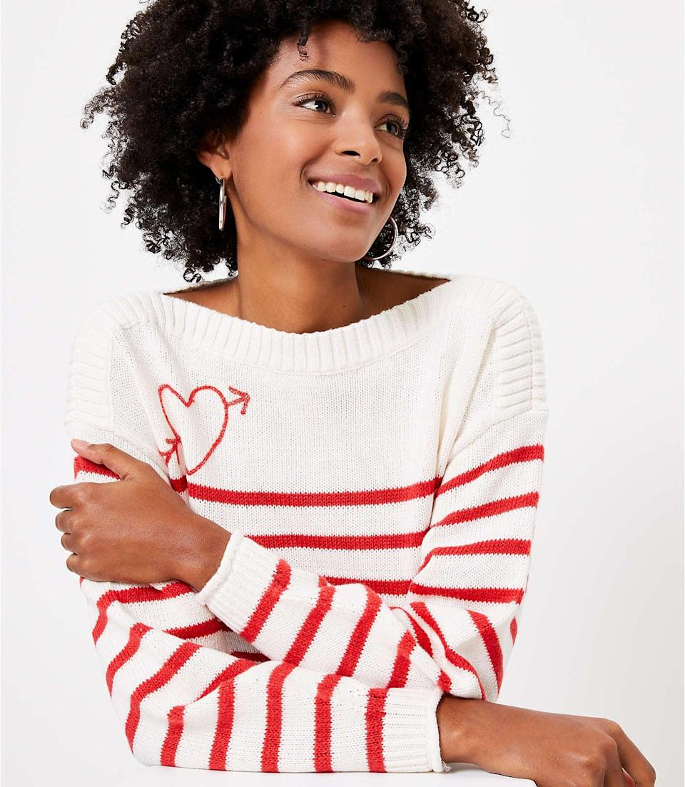 <p>This <span>LOFT Cupid Boatneck Sweater</span> ($20, originally $70) is a cute pick for a special date.</p>