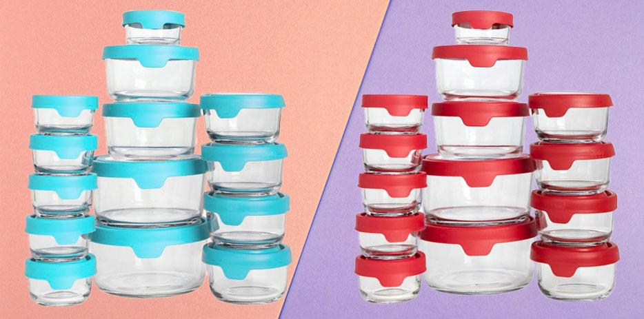 This 38-piece set of glass food storage containers by Anchor Hocking comes in blue or red. (Photo: HSN/Getty)