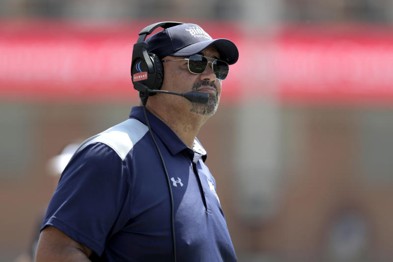 Howard head coach Ron Prince looks on during the first half of an NCAA college football game against Maryland, Saturday, Aug. 31, 2019, in College Park, Md. (AP Photo/Julio Cortez)