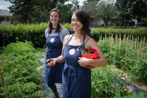 Candace Benson (left) and Miranda Holt co-own and operate City Street Farms in Regina.  (Matt Howard/CBC News - image credit)