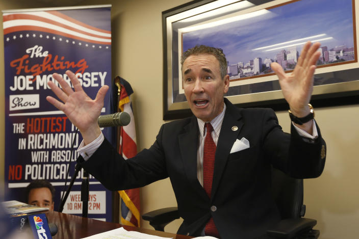 File this Thursday March 21, 2020 file photo shows Virginia State Sen. Joe Morrissey, D-Richmond, gestures during a news conference in his office at the Capitol in Richmond, Va. Morrissey, sponsored legislation that was approved by the General Assembly last week that will turn over sentencing of criminal defendants to judges instead of juries, beginning in July 2021. (AP Photo/Steve Helber)