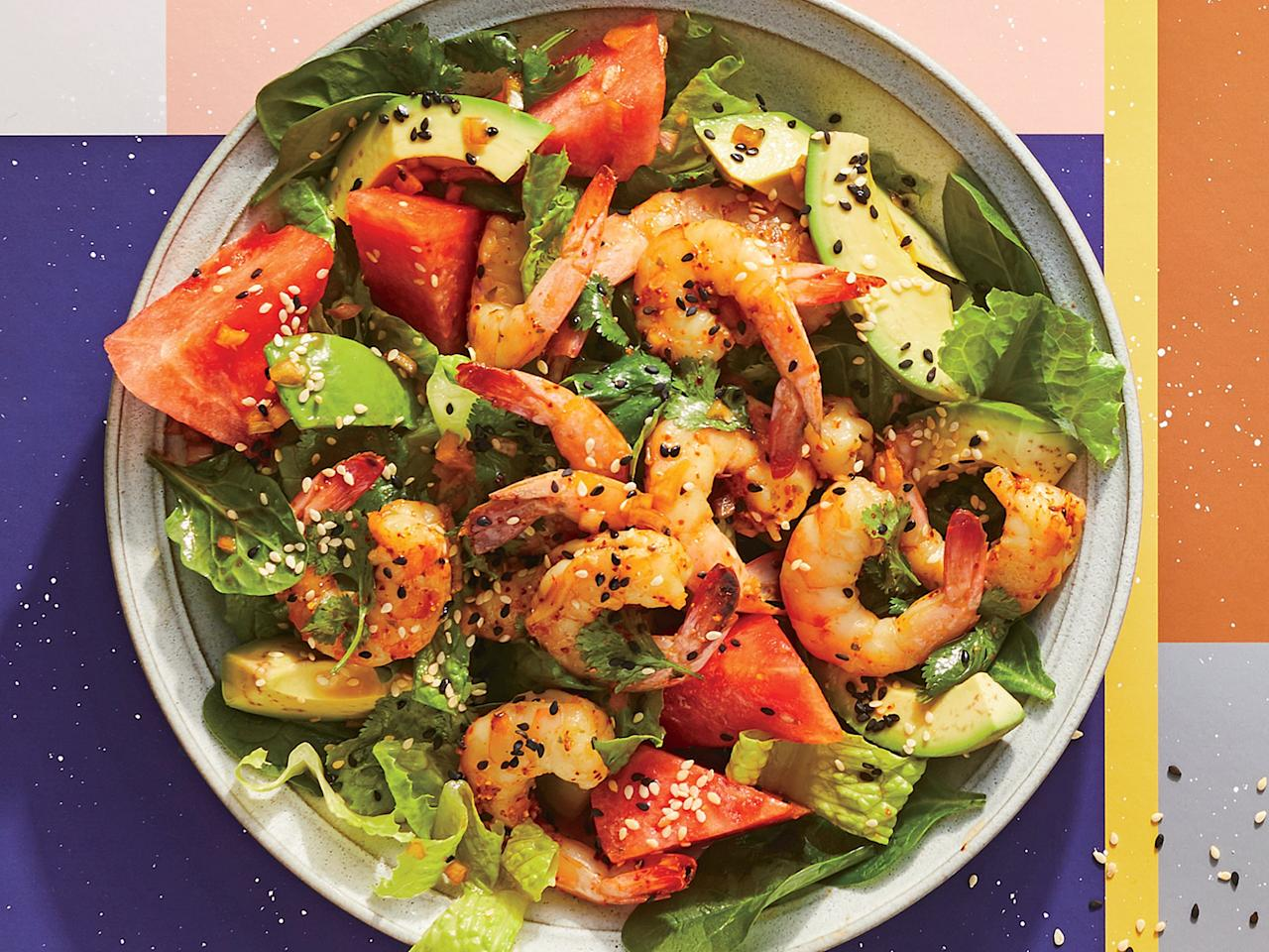 """<p>This summery dish is full of the season's freshest ingredients and pair perfectly with shrimp. Steaming the shrimp helps prevent overcooking and keeps it succulent. Watermelon makes a surprisingly good pairing.</p> <p> <a href=""""https://www.cookinglight.com/recipes/steamed-shrimp-and-watermelon-salad"""">View Recipe: Steamed Shrimp and Watermelon Salad</a></p>"""