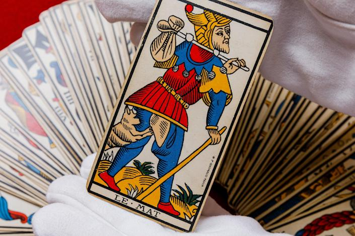 A Tarot card deck given to Ted Hughes by Sylvia Plath (PA)