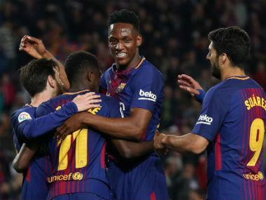 Ousmane Dembele scored twice as Barcelona thrashed Villarreal 5-1 on Wednesday and edged closer to their first-ever unbeaten season in La Liga.