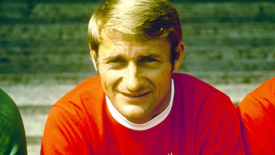 Roger Hunt, pictured here at an official Liverpool season photo-call in the late 1960s.