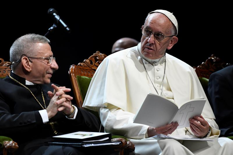 President of the Lutheran World Federation Bishop Munib Younan (L)and Pope Francis attend an ecumenical event at the Malmo Arena on October 31, 2016 in Malmo, Sweden. Pope Francis kicked off a two-day visit to Sweden to mark the 500th anniversary of the Reformation -- a highly symbolic trip, given that Martin Luther's dissenting movement launched centuries of bitter and often bloody divisions in Europe.
