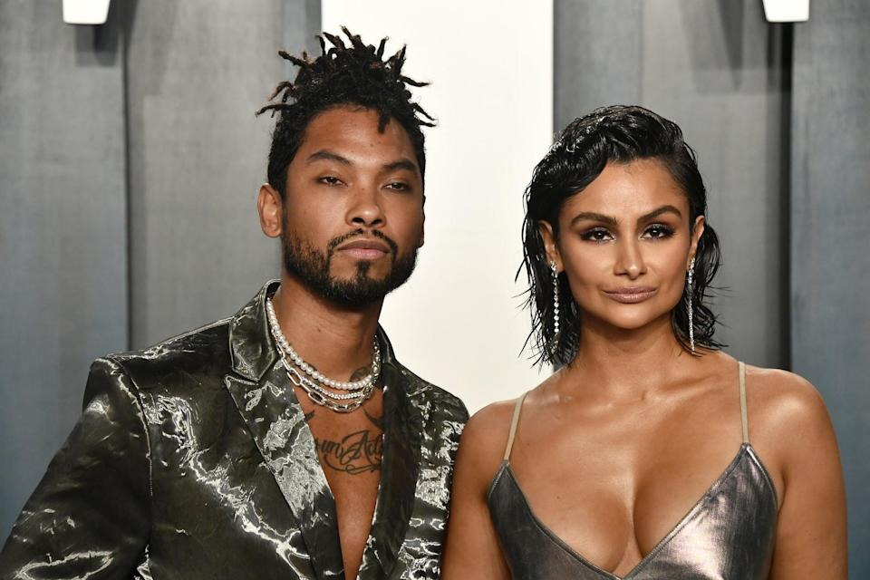 BEVERLY HILLS, CALIFORNIA - FEBRUARY 09: (L-R) Miguel and Nazanin Mandi attend the 2020 Vanity Fair Oscar Party hosted by Radhika Jones at Wallis Annenberg Center for the Performing Arts on February 09, 2020 in Beverly Hills, California. (Photo by Frazer Harrison/Getty Images)