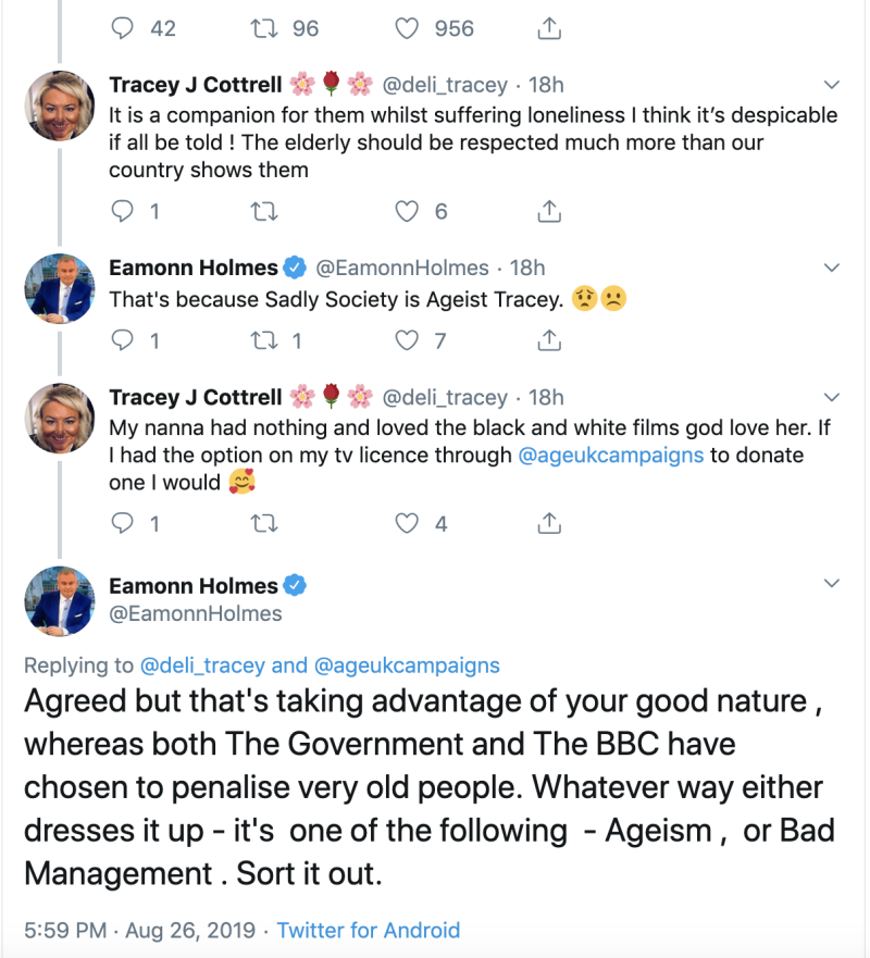Eamonn Holmes received support from fans on Twitter for keeping the discussion of loneliness and TV license fees alive (Twitter/Eamonn Holmes)