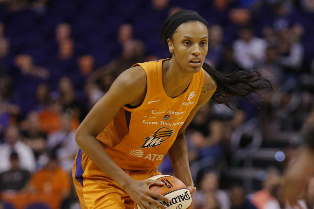 FILE- In this Aug. 16, 2019, file photo, Phoenix Mercury forward DeWanna Bonner (24) looks to pass during a WNBA basketball game against the Atlanta Dream in Phoenix. The Mercury traded Bonner to the Connecticut Sun on Tuesday, Feb. 11, 2020, for three first-round draft picks Tuesday. (AP Photo/Rick Scuteri, File)