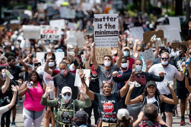 PHOTO: Demonstrators march on Main St. on June 5, 2020 in Columbia, S.C. Friday marked the seventh day of protests in the state capital, set off by the killing of George Floyd while in police custody. (Sean Rayford/Getty Images, FILE)