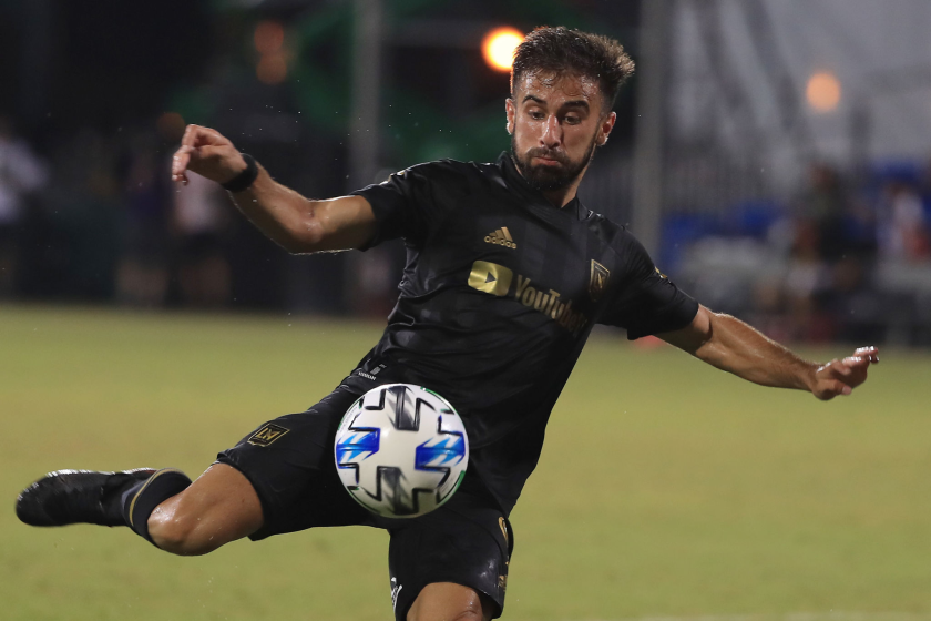 REUNION, FLORIDA - JULY 13: Diego Rossi #9 of Los Angeles FC shoots the ball during a match.