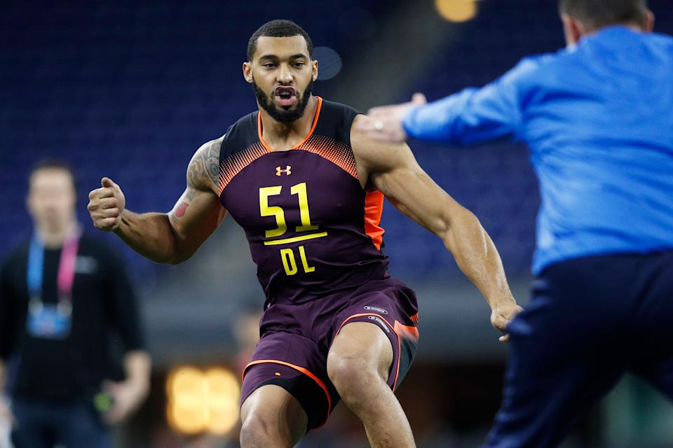 INDIANAPOLIS, IN - MARCH 03: Defensive lineman Montez Sweat of Mississippi State works out during day four of the NFL Combine at Lucas Oil Stadium on March 3, 2019 in Indianapolis, Indiana. (Photo by Joe Robbins/Getty Images)
