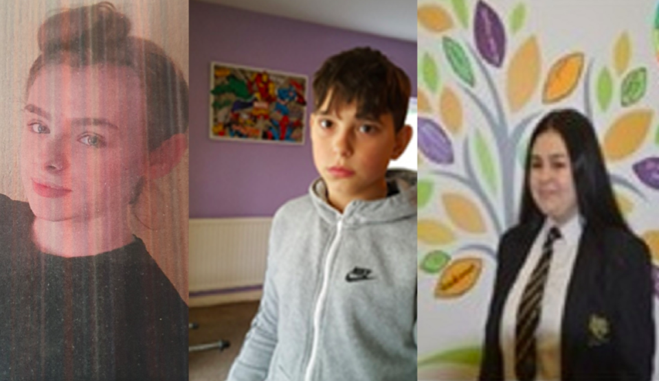 Leona Derbyshire (left), Matej Bulander (centre) and Allyx Queen (right) have been missing since Tuesday night. (Lancashire Police)