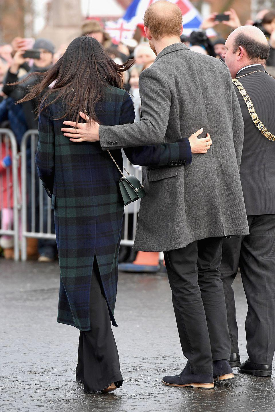 <p>On a visit to the Scottish capital at the beginning of the year, the husband and wife-to-be walked closely arm-in-arm. </p>