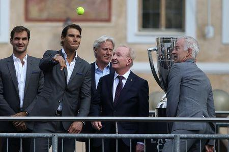 Tennis - Laver Cup - Welcoming Ceremony - Prague, Czech Republic - September 20, 2017 - Roger Federer, Rafael Nadal, Bjorn Borg, Rod Laver and John McEnroe during the ceremony at the Old Town Square. REUTERS/Milan Kammermayer