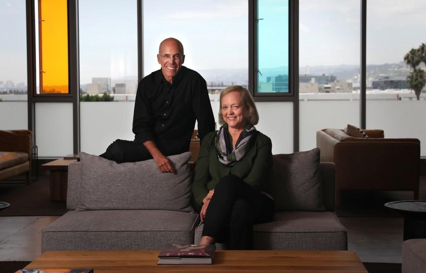 LOS ANGELES-CA-JULY 23, 2019: Jeffrey Katzenberg, left, and Meg Whitman are photographed at their startup Quibi, a digital studio that is creating bite-sized shows for millennials, in Los Angeles on Tuesday, July 23, 2019. (Christina House / Los Angeles Times)