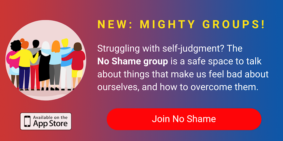 A banner promoting The Mighty's new No Shame group on The Mighty mobile app. Click to join.