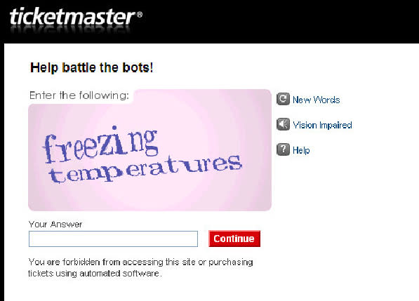 Ticketmaster makes online 'CAPTCHA' puzzles easier