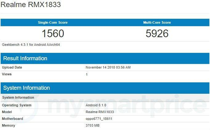 Realme 3 spotted on Geekbench. Image: MySmartPrice