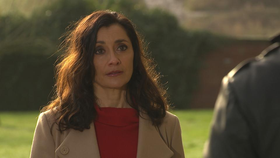 FROM ITV  STRICT EMBARGO  Print media - No Use Before Tuesday 2nd March 2021 Online Media - No Use Before 0700hrs  Tuesday 2nd March 2021  Emmerdale - Ep 8991  Thursday 11th March 2021 - 1st Ep  Manpreet Sharma [REBECCA SARKER] is caught off guard when Rishi Sharma [BHASKER PATEL] suggests renewing their vows.   Picture contact David.crook@itv.com   This photograph is (C) ITV Plc and can only be reproduced for editorial purposes directly in connection with the programme or event mentioned above, or ITV plc. Once made available by ITV plc Picture Desk, this photograph can be reproduced once only up until the transmission [TX] date and no reproduction fee will be charged. Any subsequent usage may incur a fee. This photograph must not be manipulated [excluding basic cropping] in a manner which alters the visual appearance of the person photographed deemed detrimental or inappropriate by ITV plc Picture Desk. This photograph must not be syndicated to any other company, publication or website, or permanently archived, without the express written permission of ITV Picture Desk. Full Terms and conditions are available on  www.itv.com/presscentre/itvpictures/terms