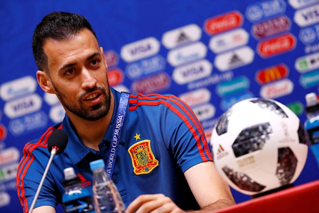 Soccer Football - World Cup - Spain Press Conference - Kaliningrad Stadium, Kaliningrad, Russia - June 24, 2018 Spain's Sergio Busquets during the press conference REUTERS/Fabrizio Bensch