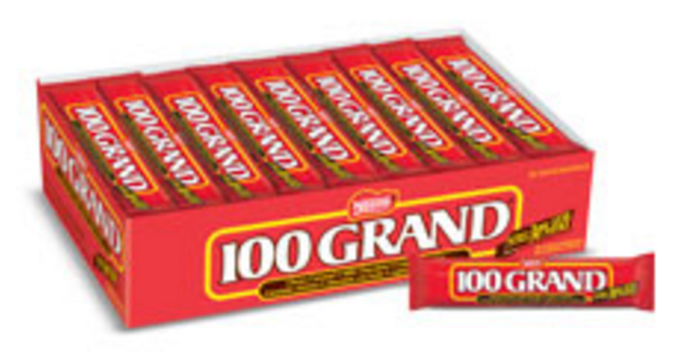 """<p><strong>100 Grand</strong></p><p>Formerly known as """"$100,000 Bar,"""" these chocolate bars were named after a popular game show in the 1960s and have been a fan-favorite ever since. </p>"""