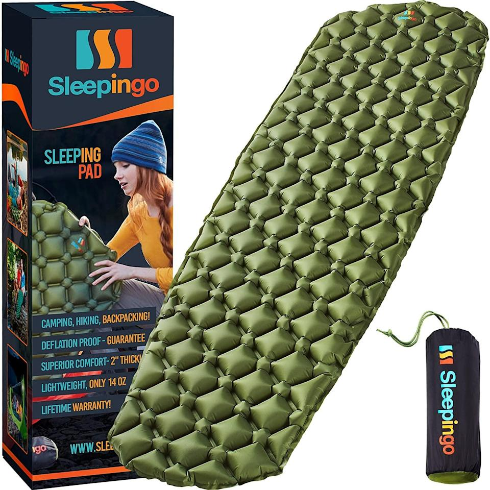 <p>If you're not sleeping in your bed, you want it to be as comfortable as possible. This <span>Sleepingo Camping Sleeping Pad</span> ($40) is a definite necessity.</p>