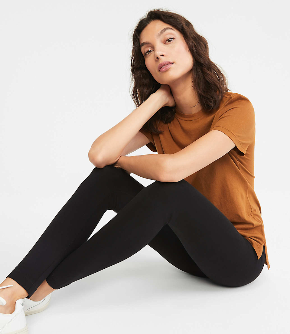"<h3><a href=""https://www.louandgrey.com/high-rise-essential-leggings/518627"" rel=""nofollow noopener"" target=""_blank"" data-ylk=""slk:Lou & Grey High Rise Essential Leggings"" class=""link rapid-noclick-resp"">Lou & Grey High Rise Essential Leggings</a></h3><br>This flexible, matte iteration of the legging trend features a comfy high rise waistband that's a little wider than most.<br><br><strong>Lou & Grey</strong> High Rise Essential Leggings, $, available at <a href=""https://go.skimresources.com/?id=30283X879131&url=https%3A%2F%2Fwww.louandgrey.com%2Fhigh-rise-essential-leggings%2F518627"" rel=""nofollow noopener"" target=""_blank"" data-ylk=""slk:Lou & Grey"" class=""link rapid-noclick-resp"">Lou & Grey</a>"