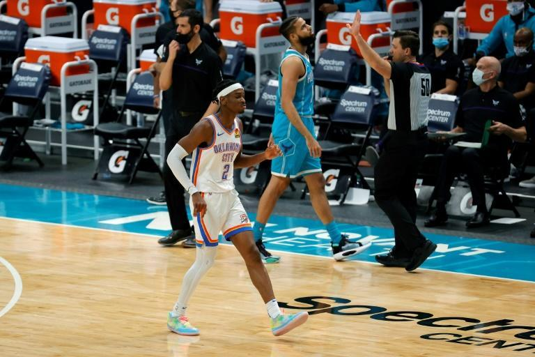 Oklahoma City guard Shai Gilgeous-Alexander reacts after his go-ahead basket in the fourth quarter of the Thunder's NBA victory over the Charlotte Hornets