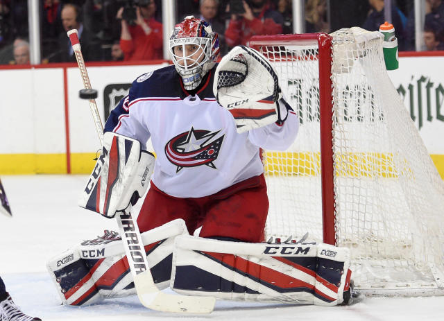Columbus Blue Jackets goaltender Sergei Bobrovsky (72), of Russia, watches the puck during the second period in Game 2 of an NHL first-round hockey playoff series against the Washington Capitals, Sunday, April 15, 2018, in Washington. (AP Photo/Nick Wass)