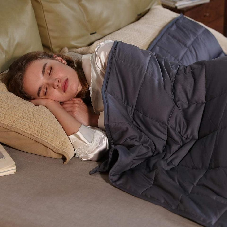 <p>Weighted blankets are great for anxiety and drifting off to sleep. The only thing better than a weighted blanket is this <span>ZonLi Cooling Weighted Blanket</span> ($60).</p>