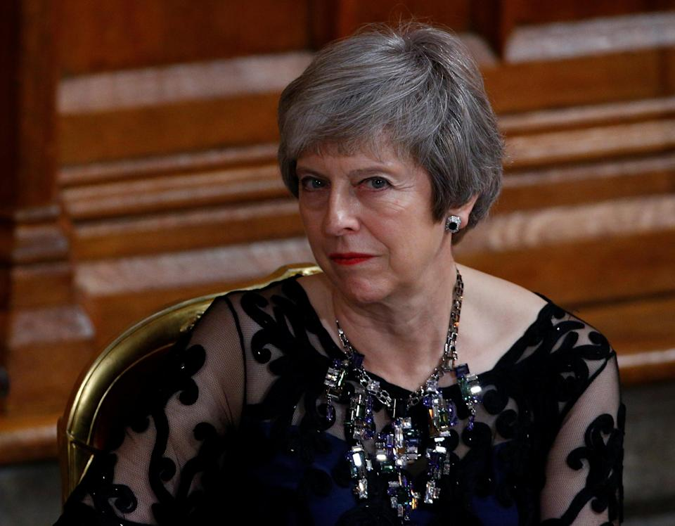 Prime Minister Theresa May spoke at the Lord Mayor's Banquet in London. Photo: Reuters