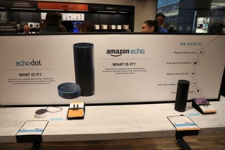FILE PHOTO - Displays for the echo dot and echo are seen inside the Amazon Books store in the Time Warner Center at Columbus Circle in New York City, New York