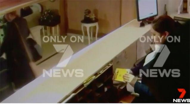 New pictures: Ms Sainsbury is shown with the suitcase carrying almost 6kg of cocaine. Photo: 7 News